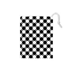Black And White Polka Dots Drawstring Pouch (Small)