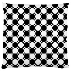 Black And White Polka Dots Large Flano Cushion Case (Two Sides)