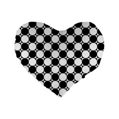 Black And White Polka Dots Standard 16  Premium Flano Heart Shape Cushion