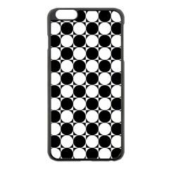 Black And White Polka Dots Apple Iphone 6 Plus Black Enamel Case