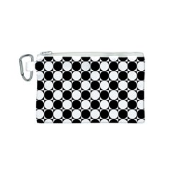 Black And White Polka Dots Canvas Cosmetic Bag (Small)