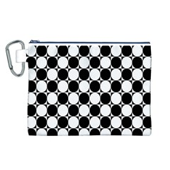 Black And White Polka Dots Canvas Cosmetic Bag (Large)