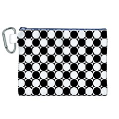 Black And White Polka Dots Canvas Cosmetic Bag (xl)