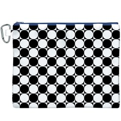 Black And White Polka Dots Canvas Cosmetic Bag (XXXL)