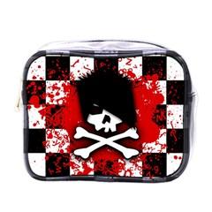 Emo Skull Mini Travel Toiletry Bag (one Side)