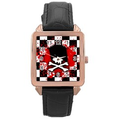 Emo Skull Rose Gold Leather Watch
