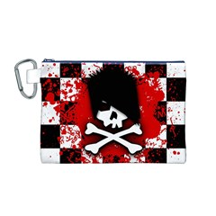 Emo Skull Canvas Cosmetic Bag (Medium)