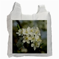 Spring Flowers White Reusable Bag (one Side)