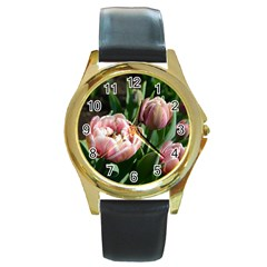 Tulips Round Leather Watch (gold Rim)