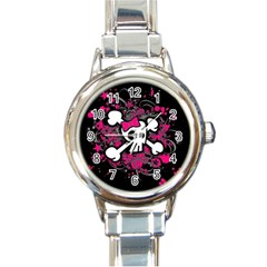 Girly Skull And Crossbones Round Italian Charm Watch