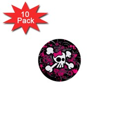 Girly Skull And Crossbones 1  Mini Button Magnet (10 Pack)