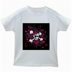 Girly Skull And Crossbones Kids T Shirt (white)