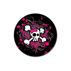 Girly Skull And Crossbones Magnet 3  (round)