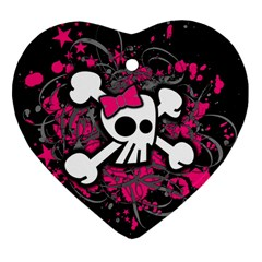 Girly Skull And Crossbones Heart Ornament (two Sides)