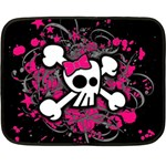 Girly Skull And Crossbones Mini Fleece Blanket (Two Sided) 35 x27 Blanket Back