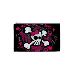 Girly Skull And Crossbones Cosmetic Bag (small)