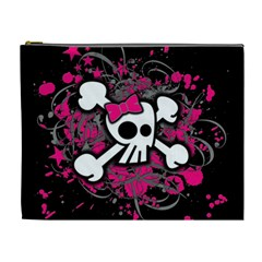Girly Skull And Crossbones Cosmetic Bag (xl)