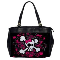 Girly Skull And Crossbones Oversize Office Handbag (one Side)