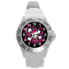 Girly Skull And Crossbones Plastic Sport Watch (large)