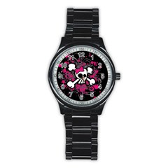 Girly Skull And Crossbones Sport Metal Watch (black)