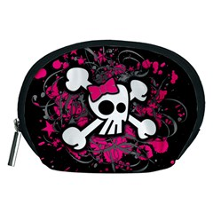 Girly Skull And Crossbones Accessory Pouch (Medium)
