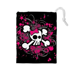 Girly Skull And Crossbones Drawstring Pouch (Large)