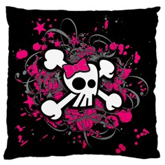 Girly Skull And Crossbones Large Flano Cushion Case (Two Sides)