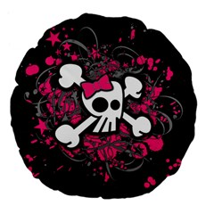 Girly Skull And Crossbones Large 18  Premium Flano Round Cushion