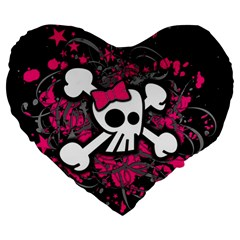 Girly Skull And Crossbones Large 19  Premium Flano Heart Shape Cushion