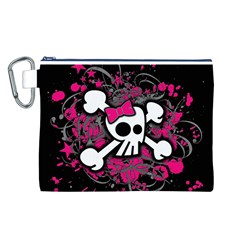 Girly Skull And Crossbones Canvas Cosmetic Bag (Large)