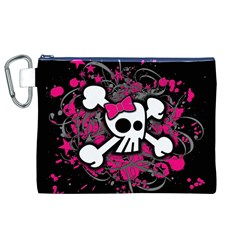 Girly Skull And Crossbones Canvas Cosmetic Bag (XL)