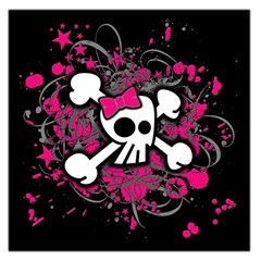 Girly Skull And Crossbones Large Satin Scarf (Square)