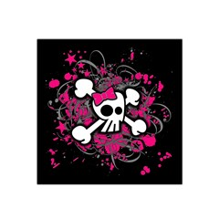 Girly Skull And Crossbones Satin Bandana Scarf
