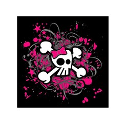 Girly Skull And Crossbones Small Satin Scarf (square)
