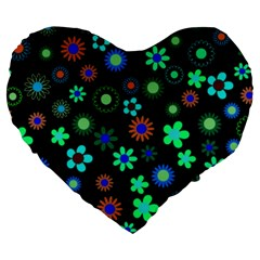 floral Large 19  Premium Flano Heart Shape Cushion