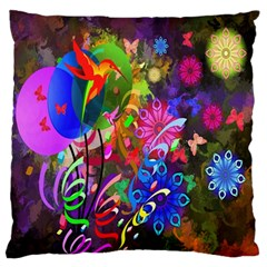 hummingbird floral  Large Flano Cushion Case (Two Sides)