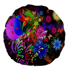 hummingbird floral  Large 18  Premium Flano Round Cushion