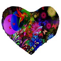 hummingbird floral  Large 19  Premium Flano Heart Shape Cushion