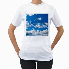 Bright Blue Sky Women s Two-sided T-shirt (White)