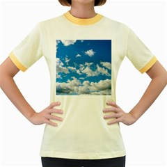 Bright Blue Sky Women s Ringer T-shirt (Colored)