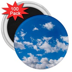 Bright Blue Sky 3  Button Magnet (100 Pack)