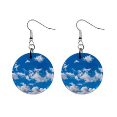 Bright Blue Sky Mini Button Earrings