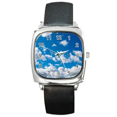 Bright Blue Sky Square Leather Watch