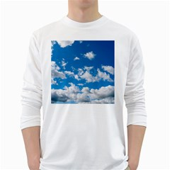 Bright Blue Sky Men s Long Sleeve T-shirt (White)