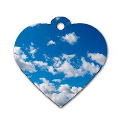 Bright Blue Sky Dog Tag Heart (one Sided)