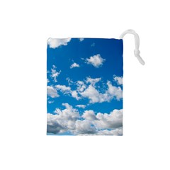 Bright Blue Sky Drawstring Pouch (small)