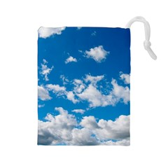 Bright Blue Sky Drawstring Pouch (Large)