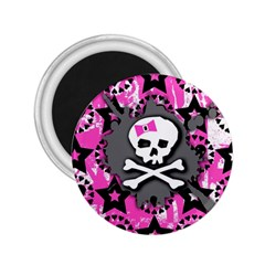 Pink Bow Skull 2 25  Button Magnet