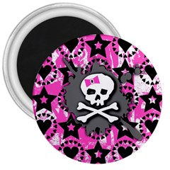 Pink Bow Skull 3  Button Magnet
