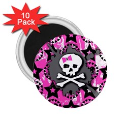 Pink Bow Skull 2 25  Button Magnet (10 Pack)